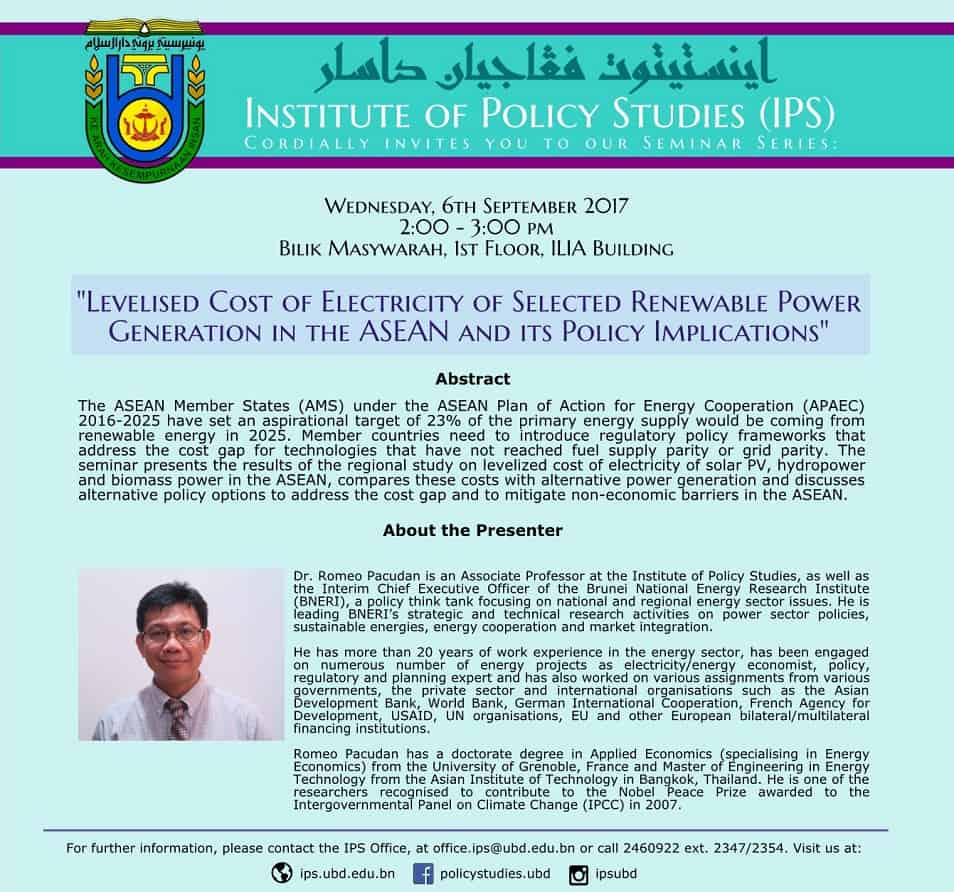 Levelised Cost of Electricity of Selected Renewable Power Generation in the ASEAN and its Policy Implications