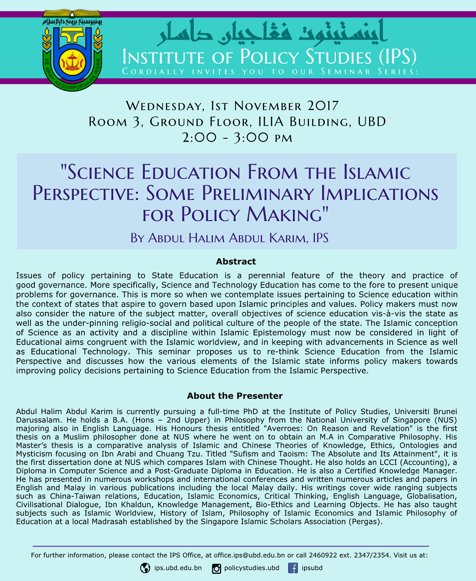 Science Education From the Islamic Perspective: Some Preliminary Implications for Policy Making
