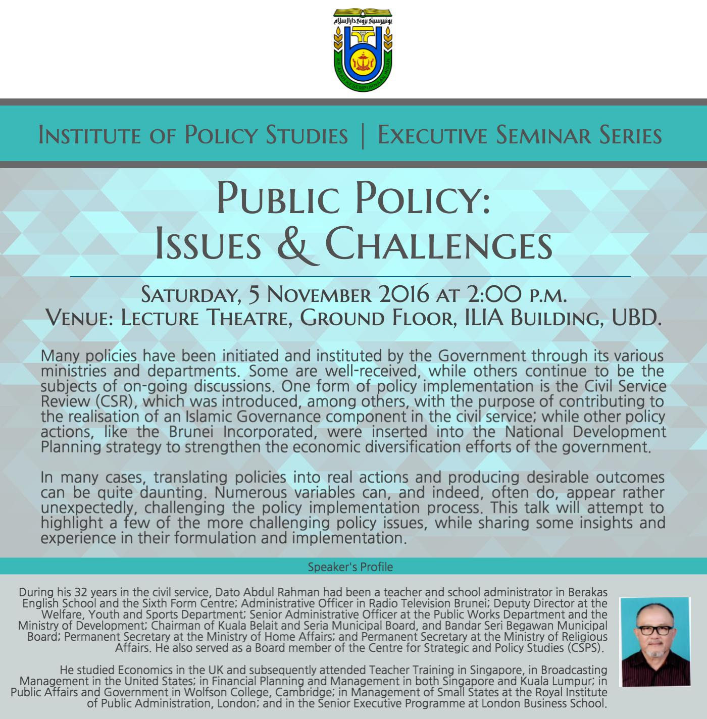 Public Policy: Issues & Challenges